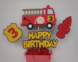 Fire Truck Birthday Centerpiece Die Cuts Firetruck Party Decorations By FeistyFarmersWife
