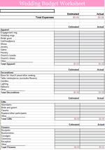 Free Wedding Budget Planner Template