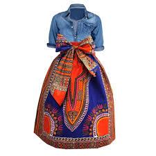 naya african print dashiki midi skirt with sash blue orange d