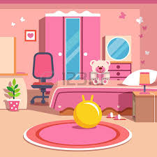 girls all pink bedroom interior flat style cartoon vector