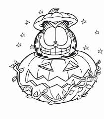 Garfield And Jack O Latern Halloween Coloring Pages