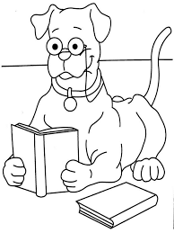Coloring Sheet Reading Dog Book Printable Page
