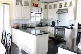 White Kitchen Cabinets With Backsplash Good Design Ideas Gray Mosaic Tile Cream Floor Idea Brick Black