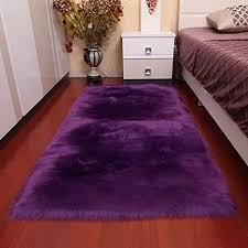 lila teppich lammfellimitat groß 90x180cm rechteckig teppich schaffell kunstfell dekofell longhair fell bohemian für schlafzimmer kinderzimmer