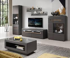 wohnzimmer set wohnwand 24z2aj anbauwand 6 teilig grau front mdf hochglanz fichte
