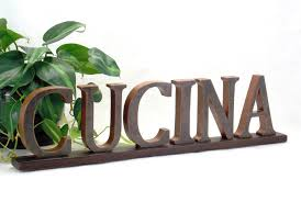 CUCINA Sign KITCHEN Wooden Word Italian