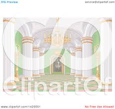 Clipart Of A Pink White Gold And Green Palace Interior With Candles Chandelier Painting