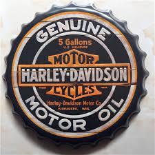 Wholesale Genuine Motor Oil Motorcycle Bottle Cap Decorative Metal Plate Plaque Vintage Pub Wall Art