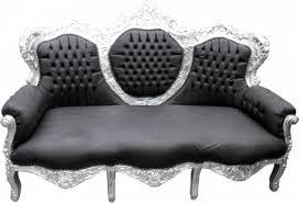 casa padrino barock sofa king schwarz lederoptik silber wohnzimmer möbel lounge