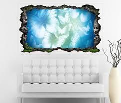 3d wandtattoo blau schmetterlinge abstrakte kunst vintage blumen selbstklebend wandbild wandsticker wohnzimmer wand aufkleber 11o238