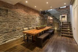 InteriorSpectacular Brick Wall Interior Ideas With Natural Wooden Poker Dining Table And Flooring Feat