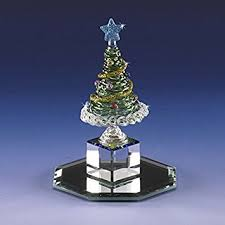 4 1 2quot Miniature Collectible Christmas Tree Glass Figurine On Crystal Cut Base 22k