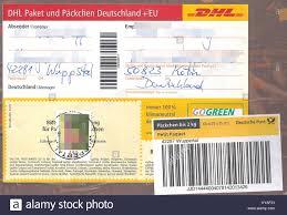 Päckchenaufkleber Mit Briefmarke Bis 2 Kg DHL 2016 Stock Photo