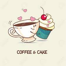 kaffee und kuchen für immer lieben kaffee und kuchen umarmung comic vektor illustration