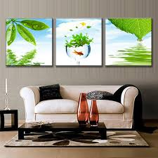 3 Pieces Framed Still Life Green Leaves Painting On Canvas Spring Natural Plants In Water