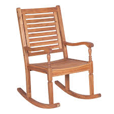 Brown Acacia Wood Patio Rocking Chair