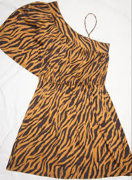 one shoulder dress u2013 animal stripe