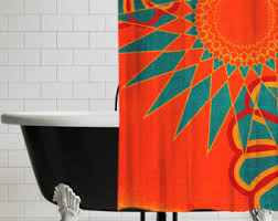 Leopard And Red Bathroom Decor by Shower Curtain Etsy