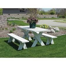 amazon com dura trel vinyl picnic table w unattached benches