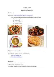 fiche cuisine fiche de travail la cuisine française