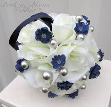 Navy Blue And Silver Wedding Bouquets Flowers Winter