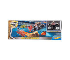 100 Monster Truck Track Set Hot Wheels Jam Brick Wall Breakdown ToyBoxJa