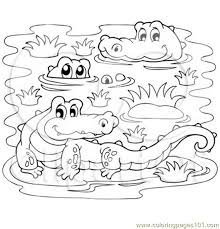 Crocodiles In A Swamp Coloring Page