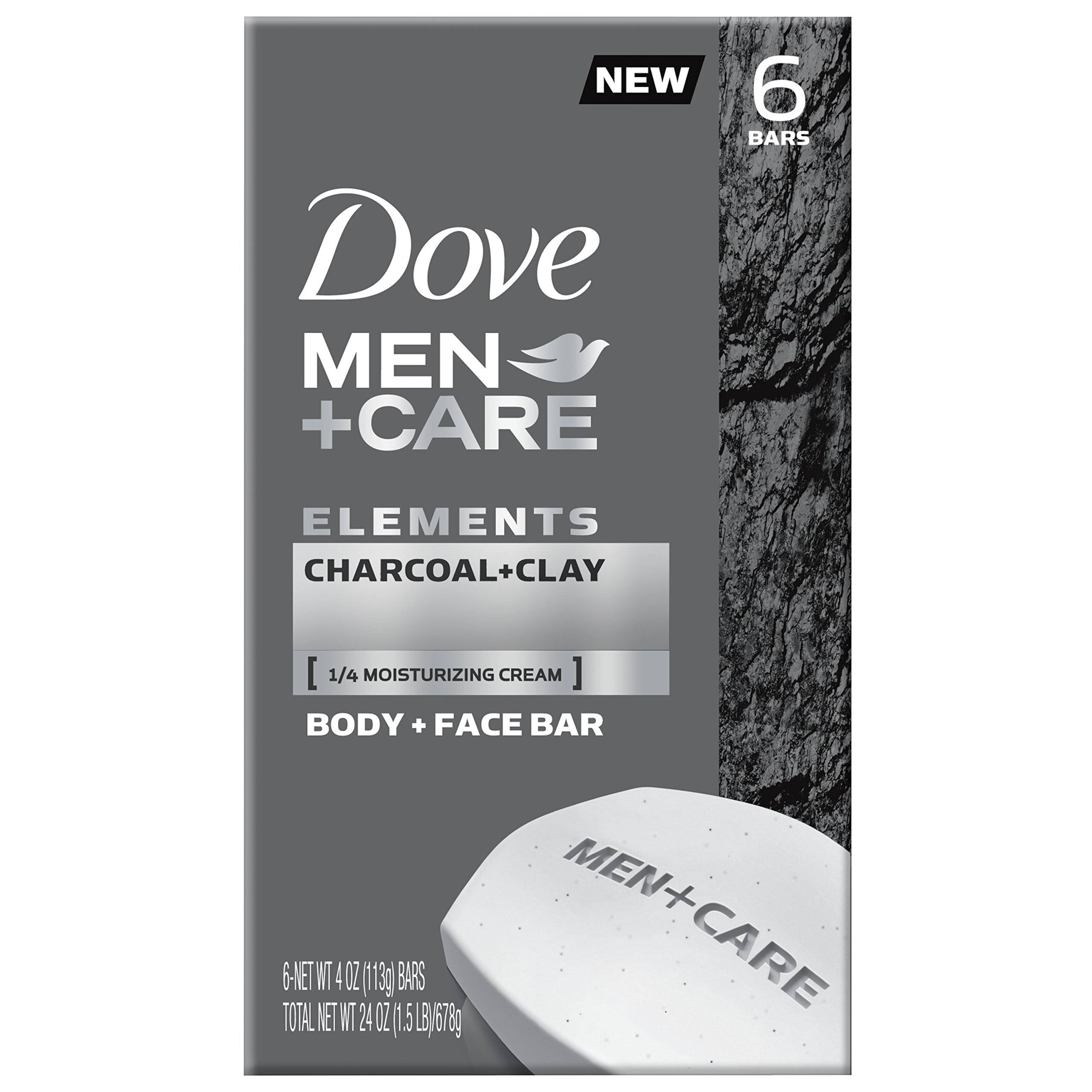 Dove Men+Care Elements Body and Face Bar Soap - Charcoal+Clay, 4oz, 6pk