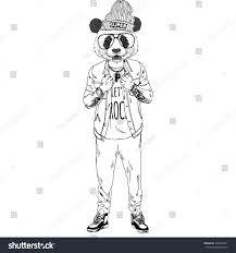 Panda Boy Dressed Up In Rock Star Style Furry Art Illustration Fashion Animals