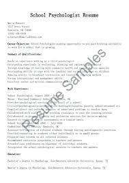 Psychologist Resume Samples School Sample For Psychology Skills Examples