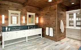 Contemporary Multi Tonal Tile Floors Are Paired With Rustic Wooden Walls Country Style