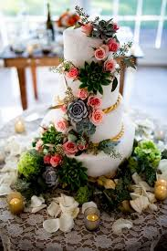 A Beautiful Succulent Wedding Cake With Pink Roses