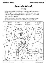 Christian Easter Color By Number Page Students A Jesus Lives