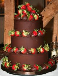 3 tier chocolate cake with chocolate dipped strawberries JPG