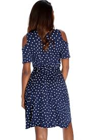 navy polka dot short sleeve shoulder cut out plus size party