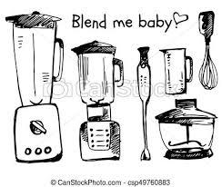 Blender Sketch Vector Illustration Smoothie Doodle Cartooning On White Background