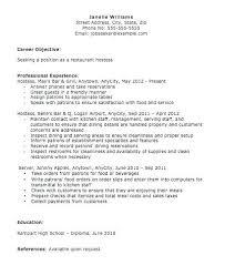 Resume For Restaurant Hostess Sample Free