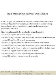 Top 8 Mechanics Helper Resume Samples Rh Slideshare Net Kitchen Cv Format General