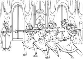 Barbie Three Musketeers Practice Together Coloring Pages