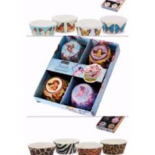 Cupcake Cases Set Angelic Butterflies Wild Leopard Giraffe Zebra Tiger Animal