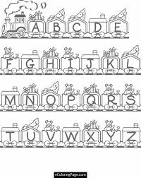 Steam Train With The Letters Of Alphabet In Wagons Loaded Gifts Coloring Page