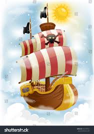 100 Design A Pirate Ship Colorful Illustration Red White Stock Vector