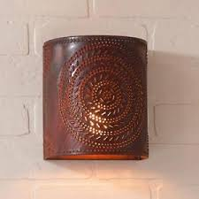 primitive new punched tin chisel wall sconce light ebay