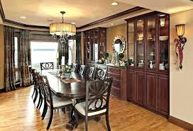Dining Room China Cabinet Built In Buffet Recessed Ideas Traditional With Chandelier Shade