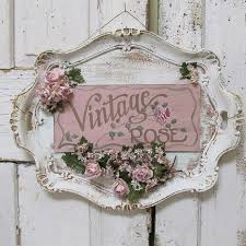 Serving Tray Wall Hanging Shabby Cottage Chic Painted Vintage Rose Plaque Roses Millinery Flower Embellished Sign Decor Anita Spero Design