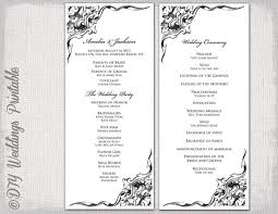 Wedding Program Template Black White DIY Traditional Corner Scroll Printable Order Of Ceremony YOU EDIT Download