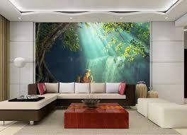 3d tapeten natur wasserfall landschaft 3d wald wallpaper wände wohnzimmer schlafzimmer fototapeten