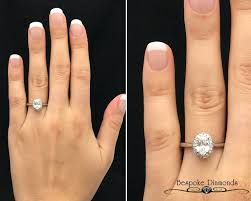 VR1032 Oval Cut Halo Engagement Ring On Hand Vintage Style