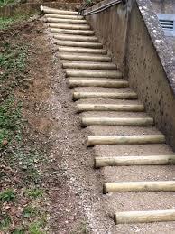 escalier rondin terre grave fc paysages