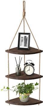 mkouo hangend ecke regal 3 tier jute seil holz wand schwimmende regale boho deko rustikaler veranstalter zeigt lagerregal für wohnzimmer schlafzimmer
